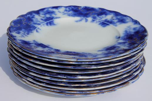 antique flow blue china plates set of 10 unmarked English Staffordshire 1880s? & flow blue china plates set of 10 unmarked English Staffordshire 1880s?