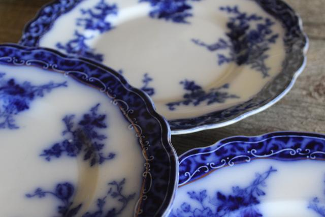 antique flow blue china salad or dessert plates, English transferware 1800s vintage