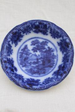 antique flow blue china serving bowl w/ Oriental scene, 1800s vintage English Staffordshire
