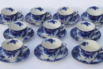 antique flow blue china, set of 10 cups and saucers, unmarked English Staffordshire 1880s?