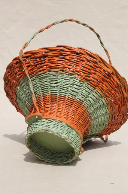 Antique Flower Basket W Original Coral Orange Amp Mint