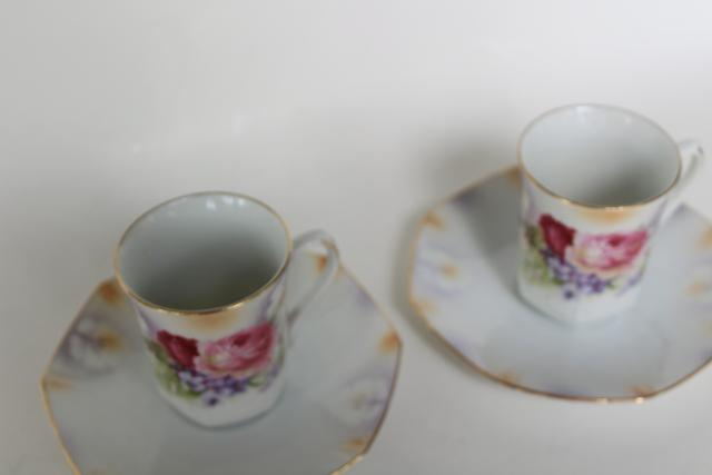 antique flowered china demitasse coffee or chocolate cups w/ saucers, made in Germany