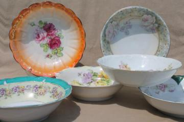 antique flowered china, lot of large bowls - shabby cottage chic painted floral dishes
