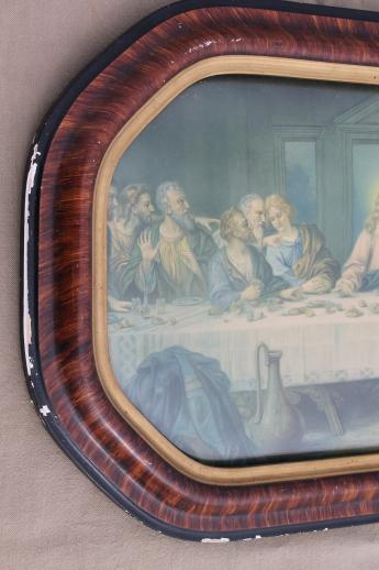 Antique Framed Last Supper Print W Lovely Old Convex