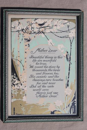 antique framed poem Mother Dear motto print, a lovely Mother's Day gift!