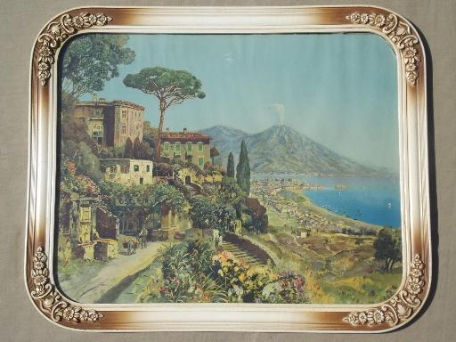 antique framed print At Vesuvius, vintage colored print Bay of Naples Italy