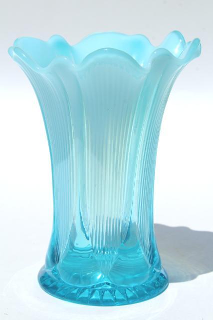 Antique French Blue Opalescent Glass Vase Vintage
