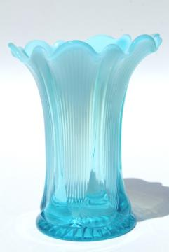 antique french blue opalescent glass vase, vintage Jefferson lined heart pattern glass