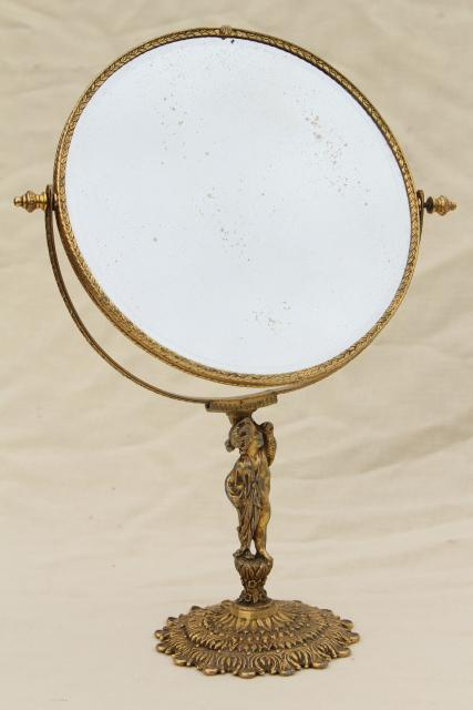 Antique French Country Style Vanity Mirror W Bronze Gold