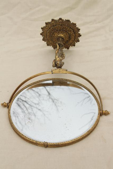 antique french country style vanity mirror w/ bronze gold gilded metal lady figure