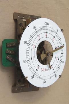antique french industrial meter, steampunk vintage measuring tool w/brass gears & porcelain dial
