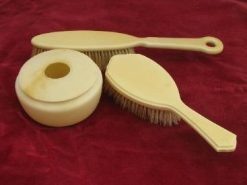 antique french ivory celluloid vintage vanity box, natural bristle brushes