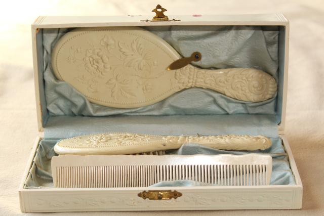 Antique French Ivory White Gutta Percha Dressing Table Set