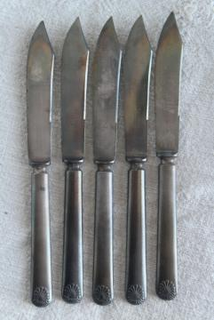 antique fruit knives, early 1900s vintage silverware, silver plate flatware