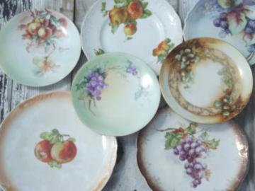 antique fruit plate lot, painted china plates w/ apples, grapes, acorns
