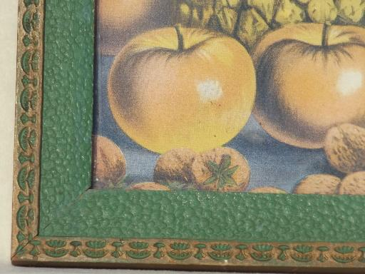antique fruit print in original painted wood frame, early 1900s vintage