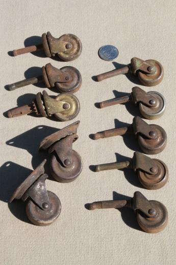 antique furniture casters w  steel wheels  assorted rusty old metal wheels  vintage hardware. antique furniture casters w  steel wheels  assorted rusty old