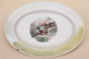 antique game birds china plate w/ flying ducks, shabby old Thanksgiving / Christmas platter