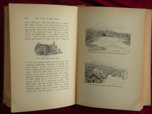 antique gardening book, fruit trees, vegetables, flowers, tools etc