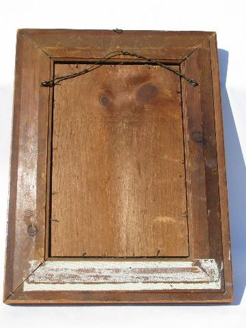 antique gentleman\'s shaving mirror, old veneer inlay beveled wood frame