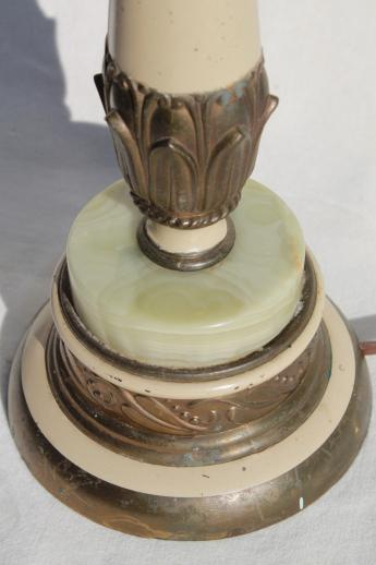 Antique Gilt Metal Candlestick Lamp W   Slag Glass Marble