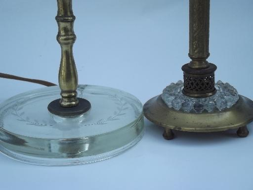 antique glass and gold candlestick boudoir lamps, 20s 30s art deco vintage