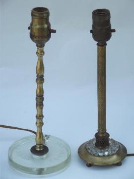 antique glass and gold candlestick boudoir lamps, 20s 30s art deco vintage