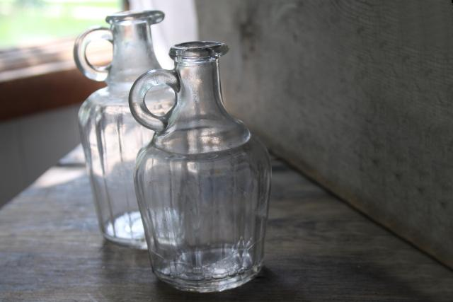 antique glass bottles, early 1900s vintage syrup pitcher, clear glass jug
