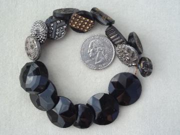 antique glass buttons, art deco vintage jet black button charm string