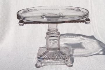 antique glass cake stand, circle in square EAPG vintage early 1900s pedestal plate