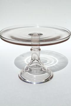antique glass cake stand, early 1900s vintage bakery pedestal plate, sun purple lavender glass