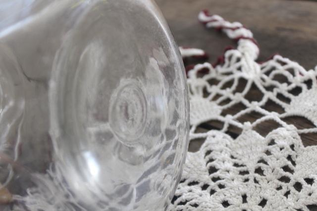 antique glass canister jars, vintage store counter candy barrels w/ crochet lace fly covers