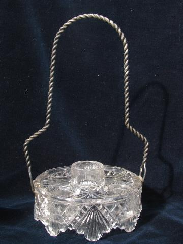 antique glass castor stand bottle holder w/ twisted wire carrier handle