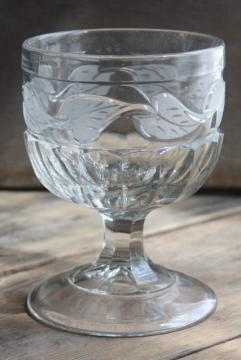 antique glass celery vase or large goblet, frosted leaf cut ivy EAPG 1800s vintage