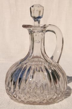 antique glass cruet bottle, pitcher w/ stopper, vintage EAPG pressed pattern glass