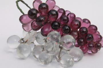 antique glass fruit, amethyst purple & crystal clear glass grapes, early 1900s vintage