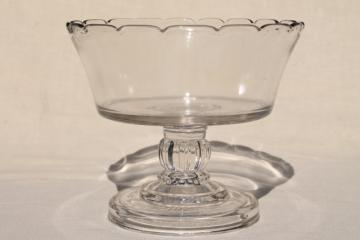 antique glass fruit stand or trifle bowl, heavy old pressed pattern glass