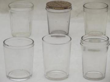antique glass jelly jar lot, vintage 1906 tumbler jars drinking glasses
