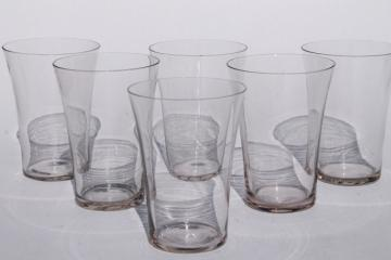 antique glass lemonade glasses, flared shape flat tumblers, early 1900s vintage
