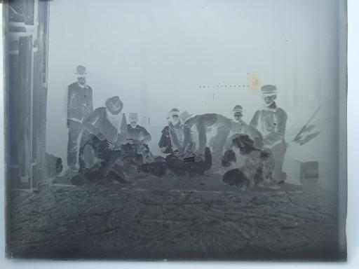 Antique Glass Plate Negatives Swedish Farm Steam Engine