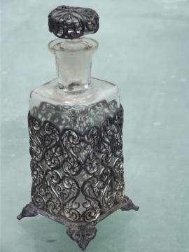 antique glass scent bottle w/ metal filigree, vanity table eau de cologne