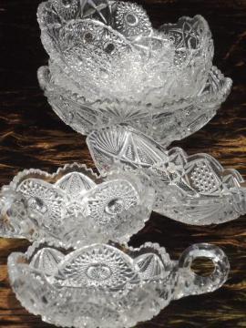 antique glass serving dishes & bowls, brilliant star pattern vintage glassware
