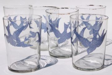 antique glass tumblers, vintage drinking glasses w/ bluebirds or flying swallow birds in blue
