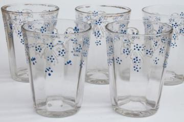 antique glass water tumblers or lemonade glasses w/ hand painted enamel flowers