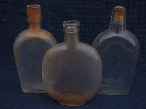 Antique Glass Whiskey And Old Patent Medicine Bottles Vintage Bottle Lot
