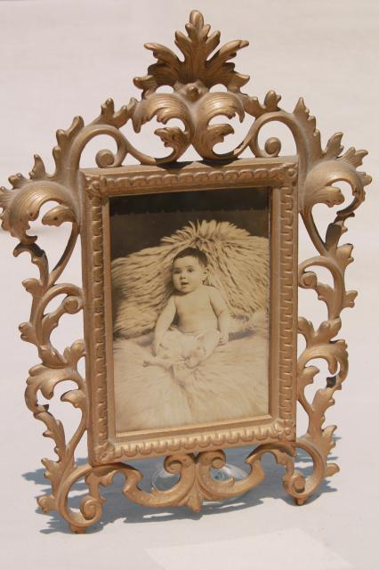Antique Gold Cast Metal Picture Frame W Vintage Sepia
