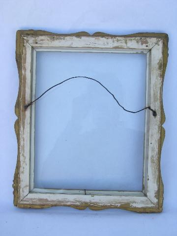 antique gold ornate wood picture or mirror frame, 1890s vintage