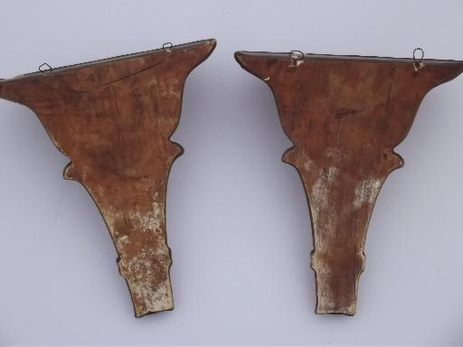 Antique Gold Painted Plaster Wall Bracket Shelves Pair