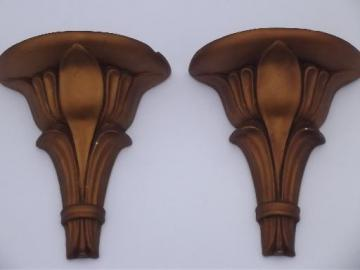 antique gold painted plaster wall bracket shelves pair, vintage chalkware