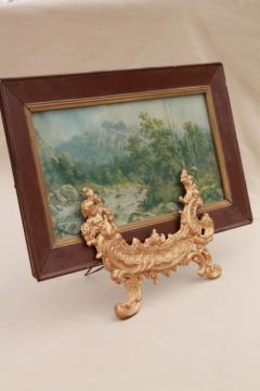 antique gold rococo metal easel stand for picture frame or mirror, vintage baroque angels